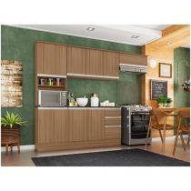 Cozinha Completa Poliman Móveis Paris - com Balcão Nicho para Forno ou Micro-ondas (Branca ou Marrom)  - R$474
