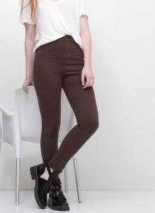 Calça Skinny Cintura Alta em Sarja Marrom 36,28