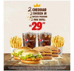 2 Cheddar + 2 Chicken Jr + 2 batatas P + Free refil - R$30
