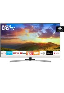 "Smart TV LED 50"" UHD Samsung Nu7400 Ultra HD 4k com Conversor Digital 3 HDMI 2 USB Wi-Fi Visual Livre de Cabos Controle Remoto Único HDR Premium Bixby - R$2591"