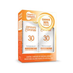 Kit Protetor Solar Facial Cenoura & Bronze TQ Seco Fps30 50g Cada 50% Desc Segunda