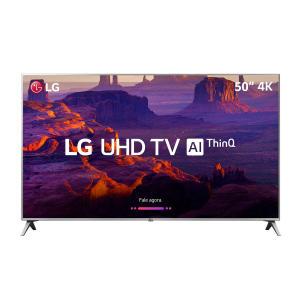 "Smart TV LED 50"" LG 50UK6510PSF Ultra HD 4K 4 HDMI 2 USB Prata com Conversor Digital Integrado por R$ 2365"