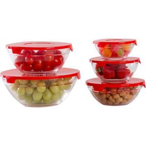 Conjunto de Potes de Vidro 5 Peças Vermelho - R$17