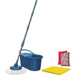 Mop Giratório Fit At Home + Refil Extra + 2 Esponjas Microfibra + Pano Multiuso - R$50
