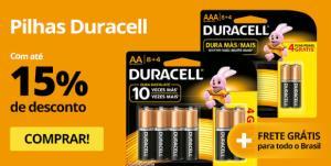Pilhas e Baterias Duracell com até 15% OFF e Frete Grátis para Todo Brasil!