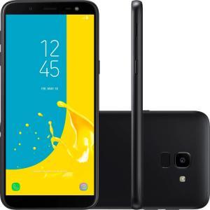 "Smartphone Samsung Galaxy J6, Preto, J600G, Tela de 5.6"", 32GB, 13MP - R$779"