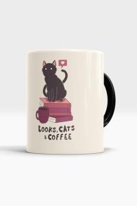Caneca Books, Cats and Coffee - Chico Rei | R$20