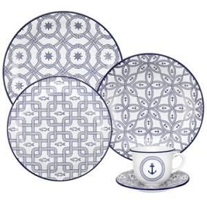 Aparelho de Jantar Chá 20 peças em Cerâmica Floreal Náutico - Oxford  - R$