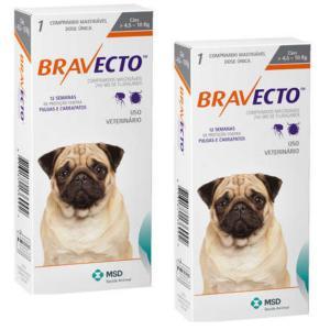 COMBO Antipulgas e Carrapatos Bravecto para Cães de 4,5 a 10kg - 2 Comprimidos- MSD