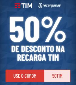 50% OFF em recarga TIM - RecargaPay [Primeira recarga]
