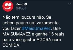 Ifood - Cupom de desconto (R$ 15,00)