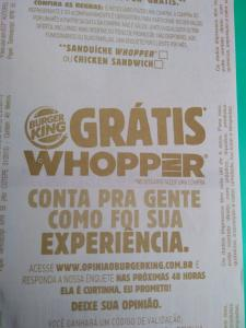 Ganhe um Whopper respondendo a pesquisa e cadastrando seu cupom fiscal no Burger King