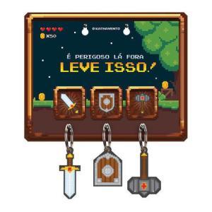 Kit Porta Chaves e Chaveiros Game Retrô | R$ 33