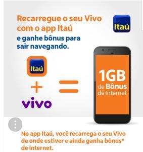 (APP) Recarregue seu Vivo com App Itau e ganhe bônus de internet