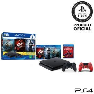 Console Playstation 4 Hits Bundle 1 TB + 04 Jogos + Controle Dualshock 4 Vermelho - 49159_PRD R$ 2699,00