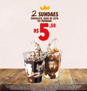 2 sundaes no Burger King - R$5,50