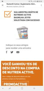 amostra grátis de Nutren® Active Baunilha