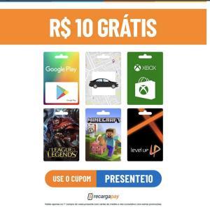 R$ 10 grátis para créditos Uber, Google Play, RIOT points, LOL, Xbox, Minecraft no RecargaPay