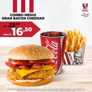 Combo médio Sanduíche Gran Bacon Cheddar no KFC - R$16,50