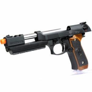 PISTOLA DE AIRSOFT GBB - WE - BARRY BURTON M92 GRIP BROWN - CAL. 6MM - R$1.990