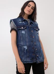 Colete Jeans Eco Alongado c/ Rasgos - Youcom R$60
