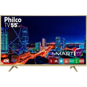 "Smart TV LED 55"" Philco PTV55U21DSWNC UHD 4K com Conversor Digital 3 HDMI 2 USB Wi-Fi Netflix - Champagne - R$2136"