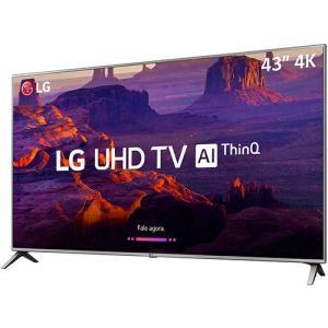 "Smart TV LED 43"" LG 43UK6510 Ultra HD 4k com Conversor Digital 4 HDMI 2 USB Wi-Fi Thinq Ai Dts Virtual X 60Hz - R$1619"