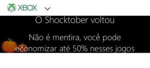Saldão Shocktober Xbox jogos até 50% de desconto