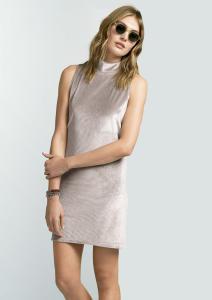 Vestido Em Malha De Suede Molhado Com Gola Alta | R$50