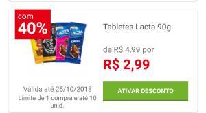 [Loja física] Barra de chocolate Lacta 90g  por R$ 2,99