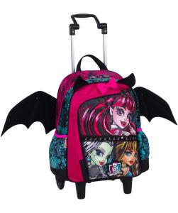Mochilete Média Monster High 16Z com asas de morcego - R$90