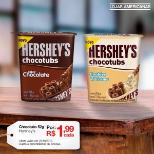 [Americanas - Loja Física] Chocotubs Hershey's 52g por R$ 1,99 cada