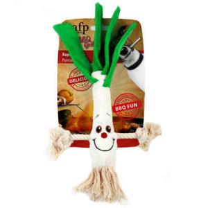 Brinquedo AFP BBQ Alho-poró de Pelúcia com Corda para Cães | R$55