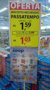 [SBC - COOP] Biscoito Recheado Passatempo levando 3 cada uma sai por R$1,03