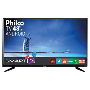 "Smart TV Android LED 43"" Full HD Philco PH43N91DSGWA com Conversor Digital 2 HDMI e 2 USB - Preta"