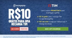 RECARGA TIM GRATIS no RecargaPay! São R$ 10 GRATIS p/ 1 recarga HOJE.