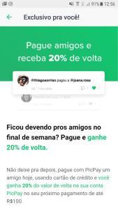 [Usuários Selecionados] 20% de cashback no PicPay