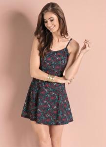 Vestido Floral Dark c/ Saia Evasê R$20