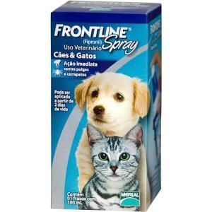 Medicamento Antipulgas e Carrapatos p/ cães e gatos Spray 100ml - Frontline | R$54