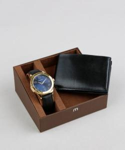 kit de relógio analógico Mondaine masculino + carteira - R$119
