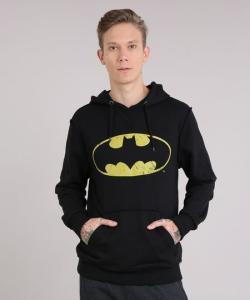 Blusão masculino em moletom Batman com capuz manga longa preto - R$37