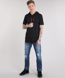 Calça jeans masculina reta Destroyed azul escuro - R$40