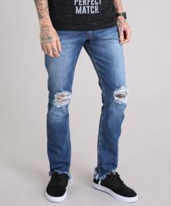 Calça jeans slim destroyed com barra assimétrica desfiada azul escuro - R$40