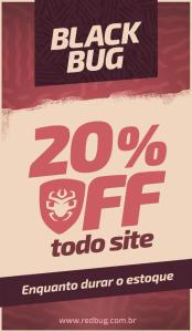 20% OFF em todo o site da loja REDBUG