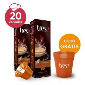 2 caixas de espresso TRES por R$ 17,90 + copo grátis.
