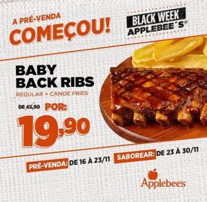 Baby Back Ribs regular + canoe fries por R$ 19,90 na  Applebee's  | R$20