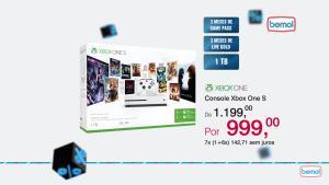 [Bemol - Loja Física] Xbox One S 1tb + 3 meses live e game pass - R$999