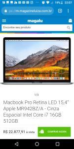 """Macbook Pro Retina LED 15,4"""" Apple MR942BZ/A-Cinza Espacial Intel Core i7 16GB 512GB"""