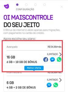 Nova oferta Oi Controle, 16GB por 55 reais
