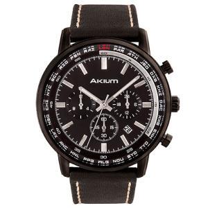 Relógio akium masculino couro preto - 03g10gl01a - R$225